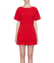 Alice + Olivia Palmira Tie-Back Tiered Ruffle Dress