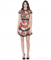 Alice + Olivia Rapunzel Lace-Trim Floral Print Dress