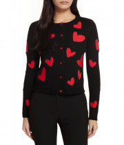Alice + Olivia Ruthy Heart Appliqué Cardigan