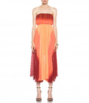 Alice + Olivia Uma Ombré Strapless Chevron-Pleated Dress
