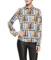 Alice + Olivia Willa Donald Robertson Print Button-Down