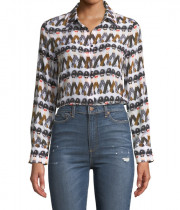 Alice + Olivia X Donald Robertson Willa Crazy Pants Printed Silk Blouse