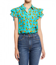 Alice + Olivia Ziggy Pineapple-Print Ruffle Cap-Sleeve Button-Down