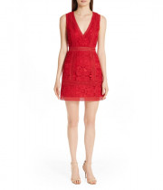 Alice + Olivia Zula Lace V-Neck Mini Dress