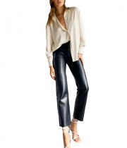 Aritzia Wilfred Louvre Satin Button-Up Blouse