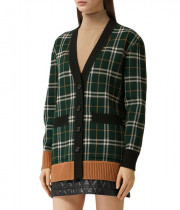 Burberry Glainsnock Check Technical Merino Wool Jacquard Cardigan