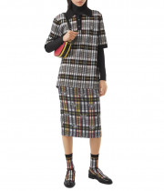 Burberry Monogram Motif Check Oversized Polo Shirt