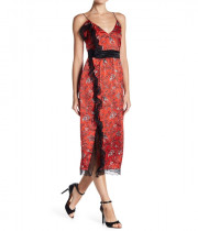 Cinq à Sept Petra Sleeveless Lace-Trim Faux-Wrap Silk Dress