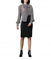 Diane von Furstenberg Chainlink Long Sleeve Chiffon Blouse