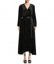 Diane von Furstenberg Metallic Animal Velvet Devore Wrap Dress