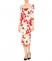 Dolce & Gabbana Open-Neck Poppy & Daisy Cady Sheath Dress