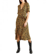 Ganni Goldstone Floral Print Crepe Wrap Dress