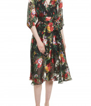 Alice + Olivia Abney V-Neck Floral Wrap Shirtdress