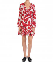 The Kooples Hortensia-Print Ruffled Silk Wrap Dress