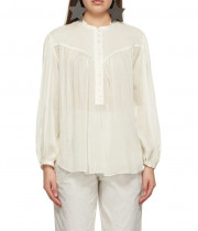 Isabel Marant Kiledia Puff Sleeve Cotton & Silk Blouse
