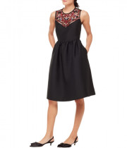Kate Spade Mikado Embroidered Illusion Sweetheart Dress