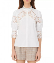 Maje Cebella Lace-Trim Cotton Shirt
