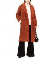 Maje Gourson Long Faux Fur Coat
