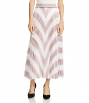Maje Joro Pleated Stripe Skirt