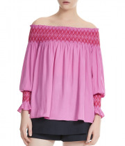 Maje Lofaur Smocked Embroidered Off-the-Shoulder Top