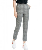 Maje Plino Check Straight Cropped Pants