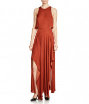 Maje Ranita Cutout Satin Maxi Dress