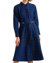Maje Rebel Belted Check Cotton-Flannel Midi Dress