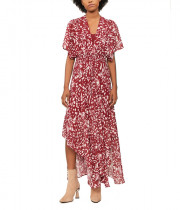 Maje Richelle Long Printed Asymmetric Dress