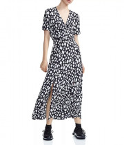 Maje Riline Printed Crepe Wrap-Effect Midi Dress