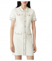 Maje Rosie Contrast Topstitching Knit Dress