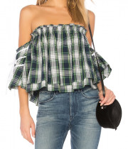 Marissa Webb Leona Off-the-Shoulder Printed Top