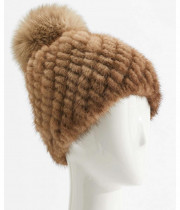 Max Mara Delia Tricot Mink Beanie Hat