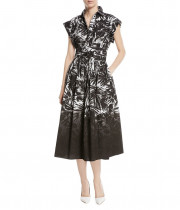 Michael Kors Collection Leaf Dip-Dye Cotton-Poplin Shirtdress