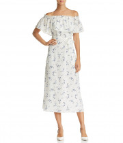 Rebecca Taylor Francine Off-the-Shoulder Floral Silk Dress