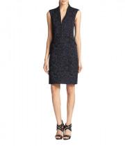 Rebecca Taylor Leopard Jacquard Zip Front Dress