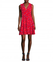 Rebecca Taylor Sakura Sleeveless V-Neck Silk Dress