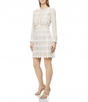 Reiss Aria Sheer-Sleeve Geometric Lace Dress