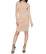 Reiss Hailey Nude Button Collar Knitted Dress