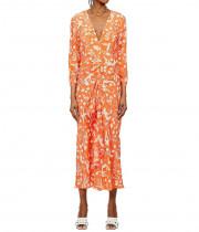 Rixo Rose Sea Life Print Silk Midi Dress