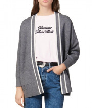 Sandro Alize Striped-Trim Cardigan Coat