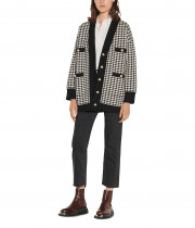 Sandro Dane Long Houndstooth Cardigan