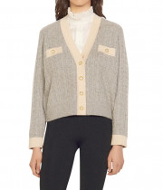 Sandro Jane Cable Knit Crop Cardigan
