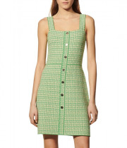 Sandro Lea Strappy Square-neck Tweed Dress