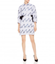 Sandro Modest Sequined Striped Shirt Dress
