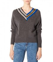 Sandro Nepeta Striped V-Neck Sweater