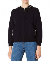Sandro Reine Pearl-Embellished Zip-Up Hooded Cardigan