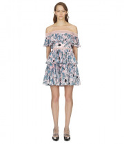 Self-Portrait Pleated Off-the-Shoulder Floral Mini Dress