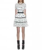 Self-Portrait Star Print Bustier Panel Tiered Dress