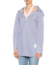 T By Alexander Wang Halter-Detail Striped Cotton Poplin Shirt