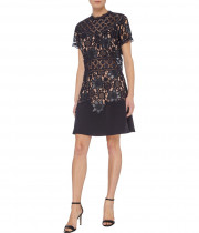 The Kooples Waxed Combo Floral Lace Mini Dress